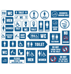toilet signs toilet icons set wc signs vector image vector image