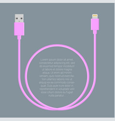 usb data cable template vector image vector image