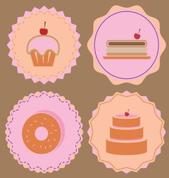 Variety of bakery icon color badges vector