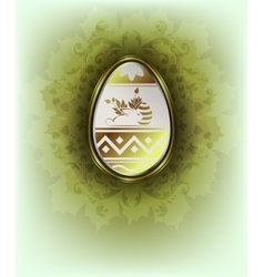 White easter egg with bunny rabbit and ornament vector