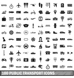 100 public transport icons set simple style vector