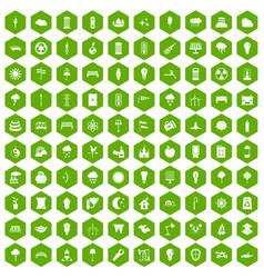 100 street lighting icons hexagon green vector
