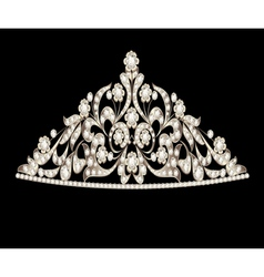 Tiara crown womens wedding precious stones vector