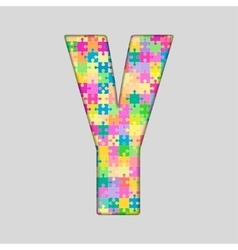 Color piece puzzle jigsaw letter - y vector