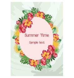 Exotic tropical summer card with wreath of flowers vector