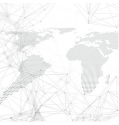 Dotted world map with chemistry pattern vector