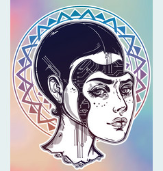 Robot or cyborg girl portrait vector