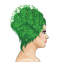 Girl with green hair vector