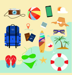 Summer holiday flat icons with background beach vector