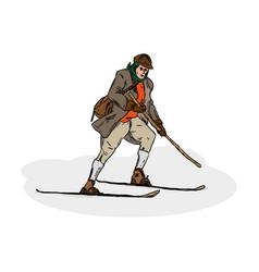 Historic skiing vector