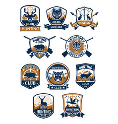 hunting sport symbol and hunter club badge set vector image