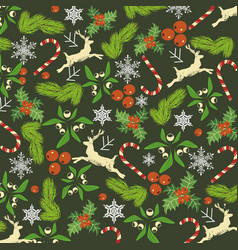 Christmas pattern branches of holly and fir deer vector