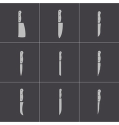 Black kitchen knife icons set vector
