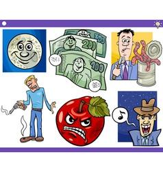cartoon concepts and sayings set vector image