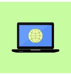 Flat style laptop with internet icon vector