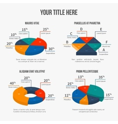 Pie charts in modern 3d flat style vector