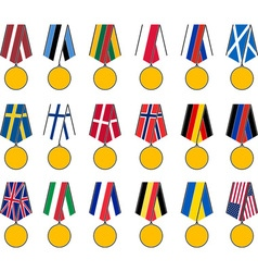Set of national medals vector