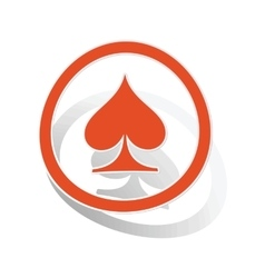 Spades sign sticker orange vector