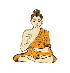 Hand drawn sitting buddha in meditation yoga vector