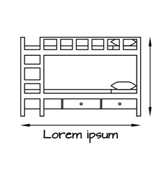 Side view flat of bunk bed vector