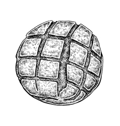 Black and white hand drawn sketch of a bread bun vector