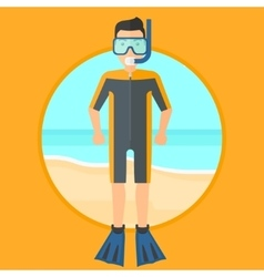 Male scuba diver on the beach vector