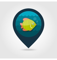 Fish pin map icon Summer Vacation vector image
