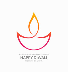 Artistic diwali diya on white background vector