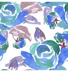 Blue watercolor rose seamless pattern vector