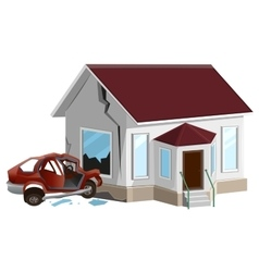 Car crash auto crashed into wall at home vector