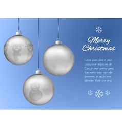 Christmas card with three silver pendants in the vector