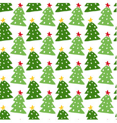Christmas trees seamless pattern new year vector