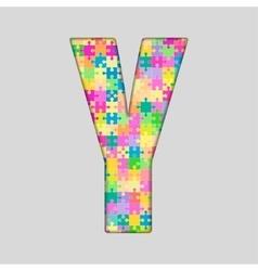 Color piece puzzle jigsaw letter - y vector
