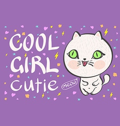 Cool girl cutie little white cat vector