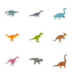 Different dinosaur icons set flat style vector