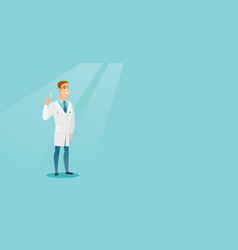 doctor holding syringe vector image vector image