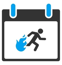 Fire evacuation man calendar day toolbar vector