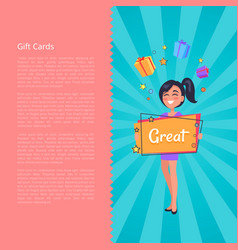 Gift card with smiling girl dreaming about boxes vector