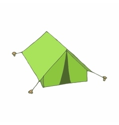 Green tent icon in cartoon style vector