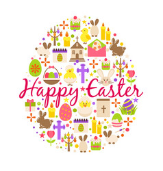 Happy easter greeting card cartoon decoration vector