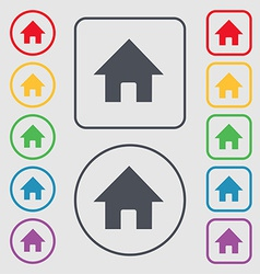 Home Main page icon sign symbol on the Round and vector image