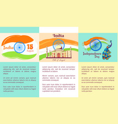 Independence day of india set of posters vector