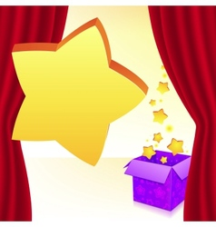 Magic box with stars behind red curtain vector image vector image