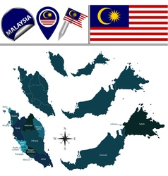 Malaysia map with named divisions vector