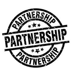 Partnership round grunge black stamp vector
