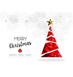 Red christmas tree decoration for greeting card vector