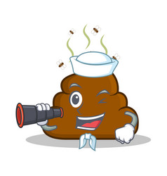 Sailor with bonicular poop emoticon character vector