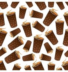 Seamless takeaway coffee paper cups pattern vector