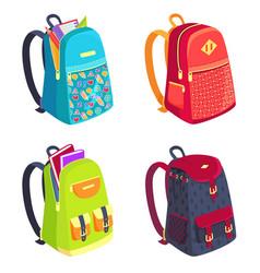 Set of colorful rucksacks for girls or boys vector