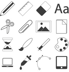 set of simple stationery and business icons vector image vector image